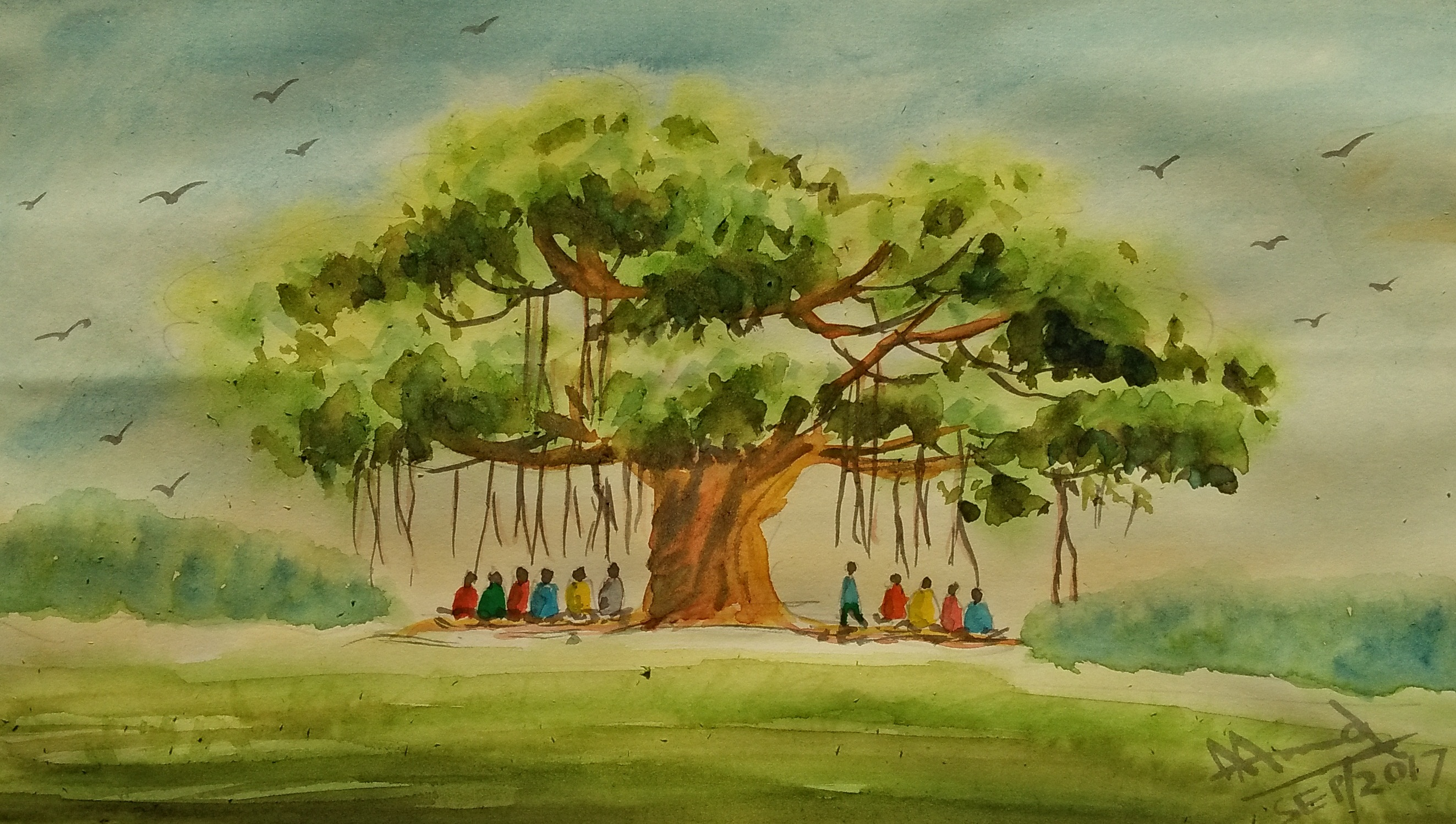story telling under banyan tree